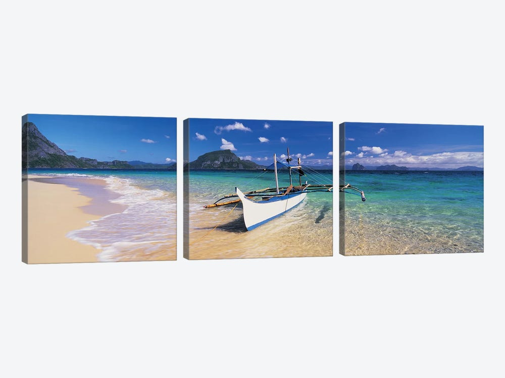 Fishing boat moored on the beach, Palawan, Philippines 3-piece Canvas Wall Art