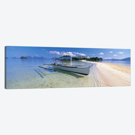 Fishing boat moored on the beach, Palawan, Philippines #2 Canvas Print #PIM4875} by Panoramic Images Art Print