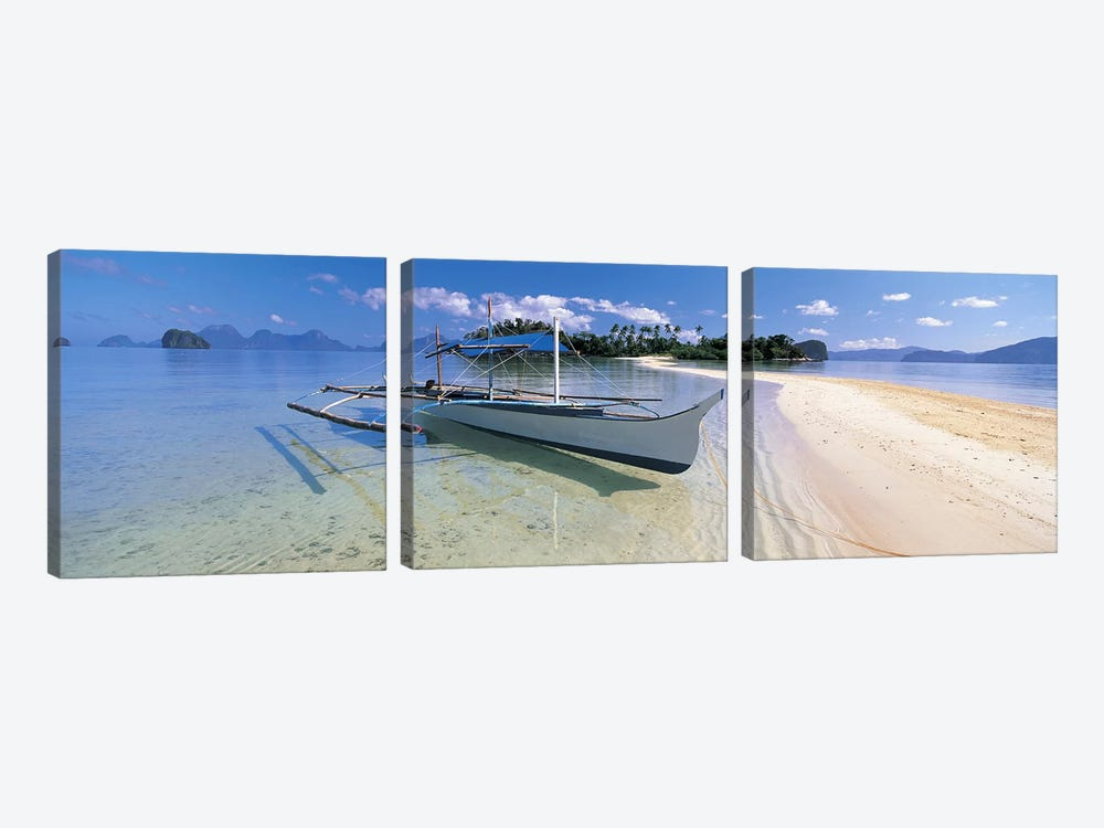 Fishing boat moored on the beach, Palawan, Philippines #2 by Panoramic Images 3-piece Canvas Art Print
