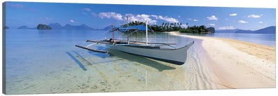 Fishing boat moored on the beach, Palawan, Philippines #2 Canvas Art Print