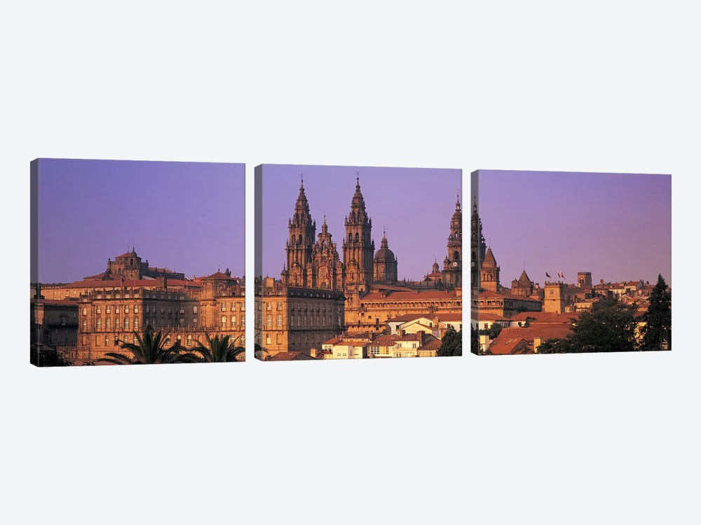 Cathedral in a cityscapeSantiago De Compostela, La Coruna, Galicia, Spain by Panoramic Images 3-piece Canvas Artwork