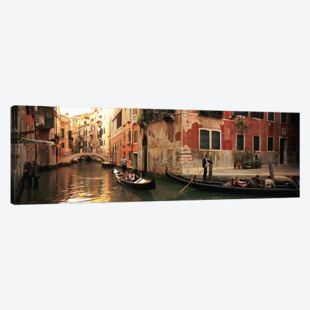 Gondolas Navigating The Canal, Venice, Italy Canvas Print #PIM4897} by Panoramic Images Canvas Art Print