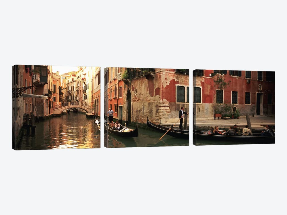 Gondolas Navigating The Canal, Venice, Italy by Panoramic Images 3-piece Canvas Print