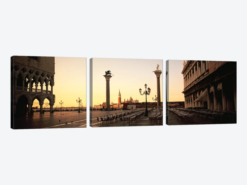 Piazzetta di San Marco At Dusk, Venice, Italy by Panoramic Images 3-piece Canvas Artwork