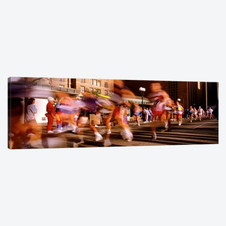 Blurred Motion Of Marathon Runners, Houston, Texas, USA Canvas Print #PIM48} by Panoramic Images Canvas Wall Art