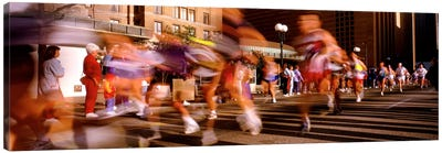Blurred Motion Of Marathon Runners, Houston, Texas, USA Canvas Art Print