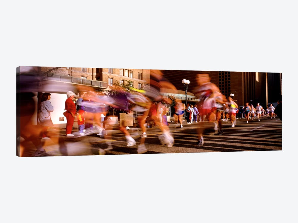 Blurred Motion Of Marathon Runners, Houston, Texas, USA by Panoramic Images 1-piece Canvas Artwork