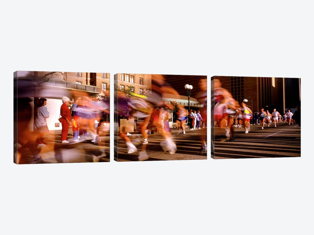 Blurred Motion Of Marathon Runners, Houston, Texas, USA by Panoramic Images 3-piece Canvas Wall Art