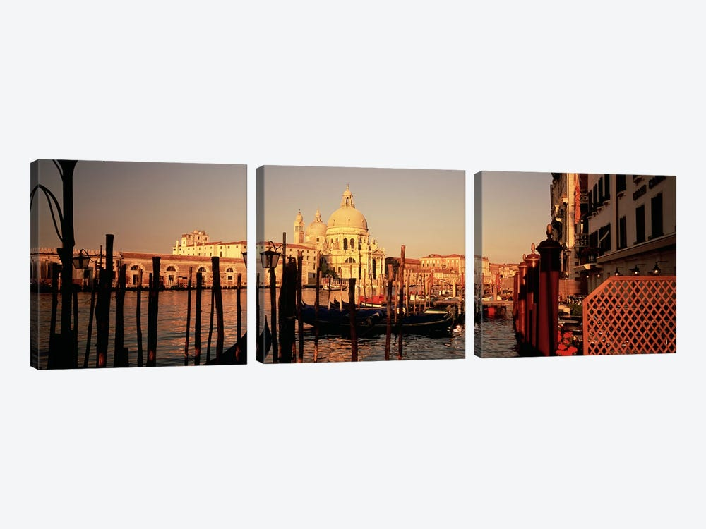 Moored Gondolas In A Canal I, Venice, Italy by Panoramic Images 3-piece Canvas Wall Art
