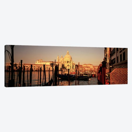 Moored Gondolas In A Canal I, Venice, Italy 3-Piece Canvas #PIM4904} by Panoramic Images Art Print