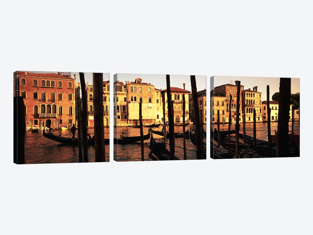 Moored Gondolas In A Canal II, Venice, Italy by Panoramic Images 3-piece Canvas Print