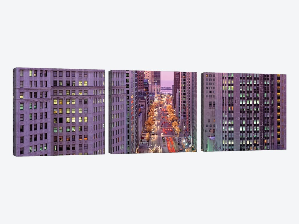 Aerial View Of An Urban Street, Michigan Avenue, Chicago, Illinois, USA by Panoramic Images 3-piece Canvas Art