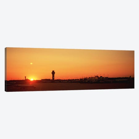 Sunset Over An AirportO'Hare International Airport, Chicago, Illinois, USA Canvas Print #PIM4916} by Panoramic Images Canvas Art