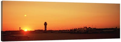 Sunset Over An AirportO'Hare International Airport, Chicago, Illinois, USA Canvas Print #PIM4916