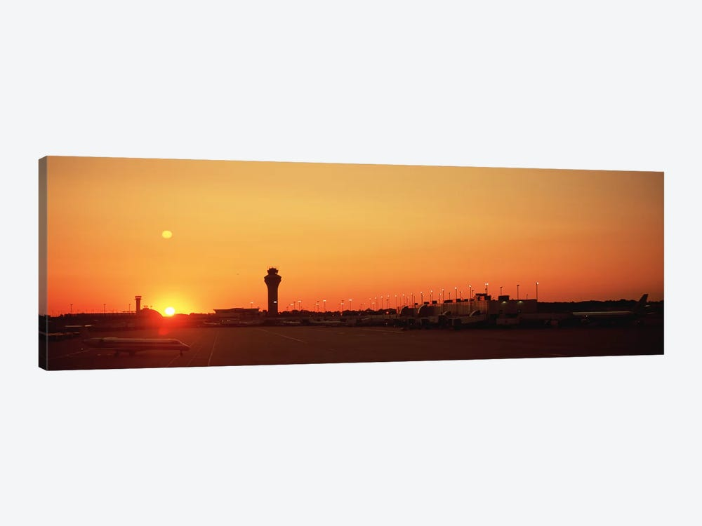 Sunset Over An AirportO'Hare International Airport, Chicago, Illinois, USA by Panoramic Images 1-piece Canvas Art Print