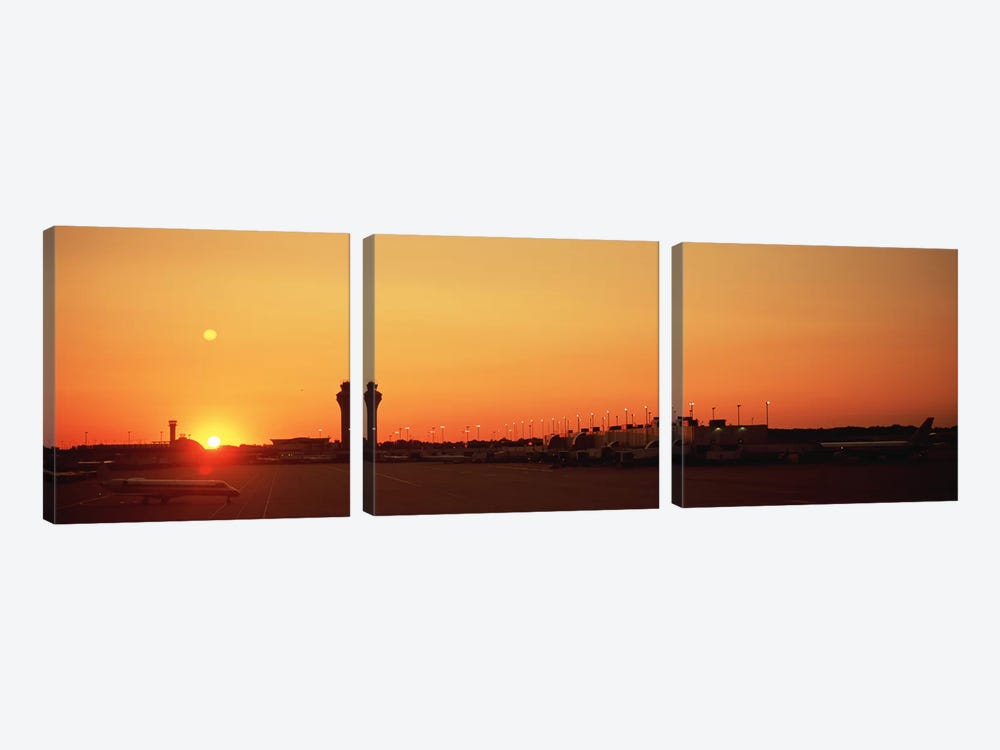 Sunset Over An AirportO'Hare International Airport, Chicago, Illinois, USA by Panoramic Images 3-piece Canvas Art Print