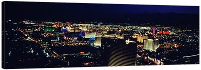 High angle view of a city lit up at night, The Strip, Las Vegas, Nevada, USA Canvas Art Print