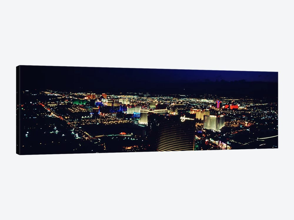 High angle view of a city lit up at night, The Strip, Las Vegas, Nevada, USA by Panoramic Images 1-piece Canvas Artwork