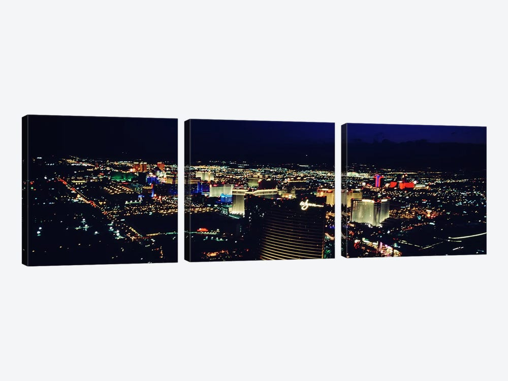 High angle view of a city lit up at night, The Strip, Las Vegas, Nevada, USA by Panoramic Images 3-piece Canvas Art