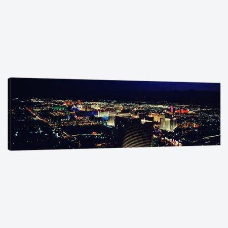 High angle view of a city lit up at night, The Strip, Las Vegas, Nevada, USA Canvas Print #PIM4917} by Panoramic Images Canvas Art