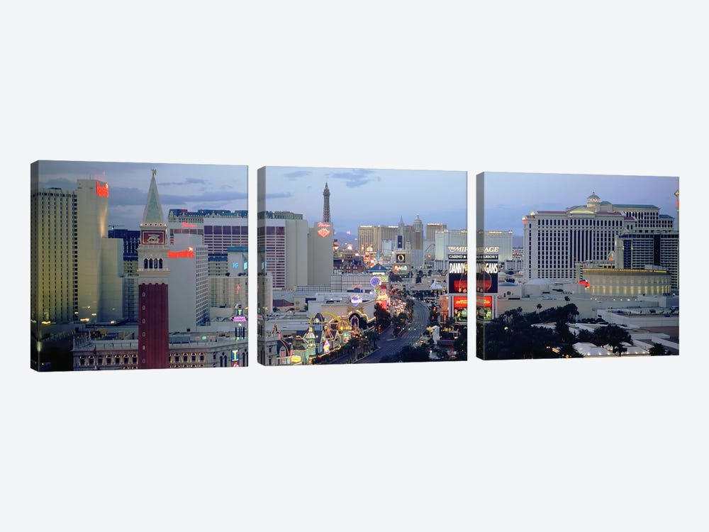 High angle view of buildings in a city, The Strip, Las Vegas, Nevada, USA 3-piece Art Print