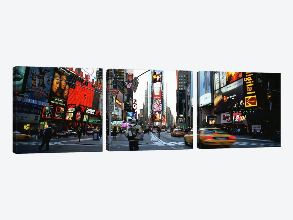 Traffic on a road, Times Square, New York City, New York, USA 3-piece Art Print