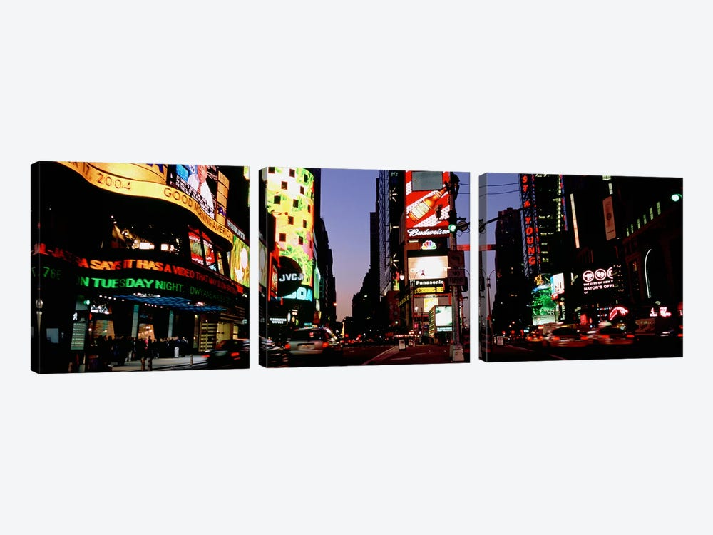 Traffic on a road, Times Square, New York City, New York, USA #2 by Panoramic Images 3-piece Canvas Artwork