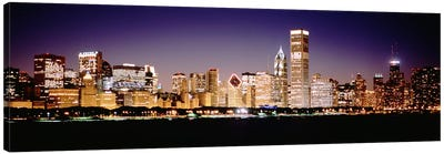 Downtown Skyline At Night, Chicago, Cook County, Illinois, USA Canvas Print #PIM4927