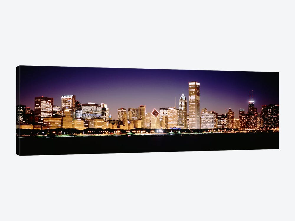 Downtown Skyline At Night, Chicago, Cook County, Illinois, USA 1-piece Canvas Print