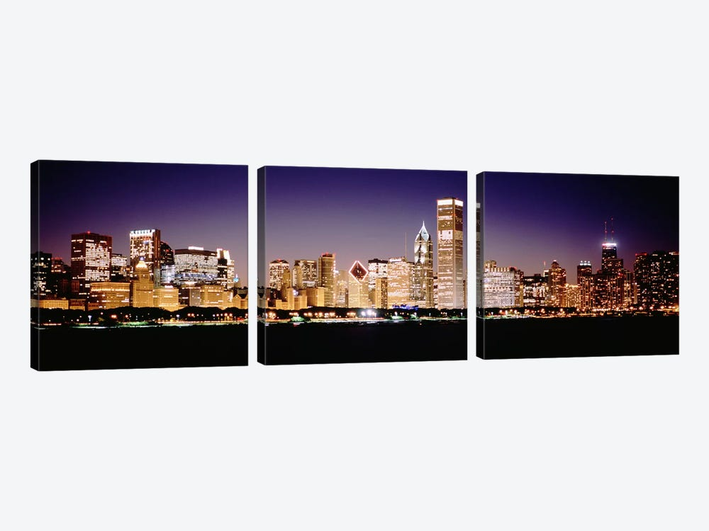 Downtown Skyline At Night, Chicago, Cook County, Illinois, USA 3-piece Canvas Art Print