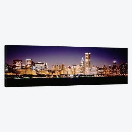 Downtown Skyline At Night, Chicago, Cook County, Illinois, USA Canvas Print #PIM4927} by Panoramic Images Canvas Art Print