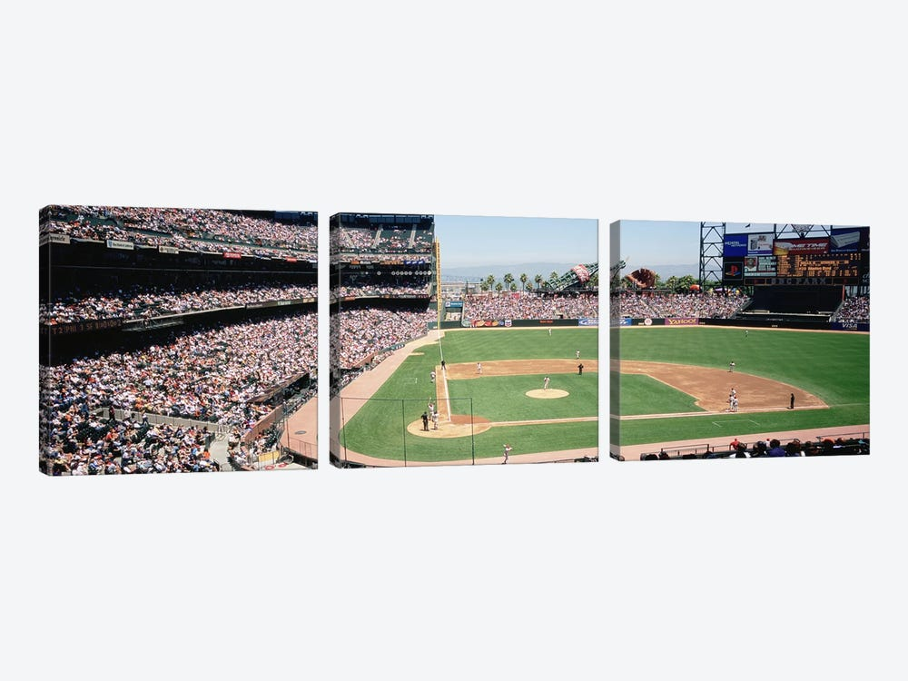 High angle view of a stadium, Pac Bell Stadium, San Francisco, California, USA by Panoramic Images 3-piece Canvas Artwork