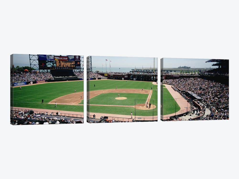 High angle view of a stadium, Pac Bell Stadium, San Francisco, California, USA #3 by Panoramic Images 3-piece Canvas Art Print