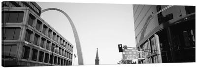 Low-Angle View From 4th Street In B&W, St. Louis, Missouri, USA Canvas Art Print