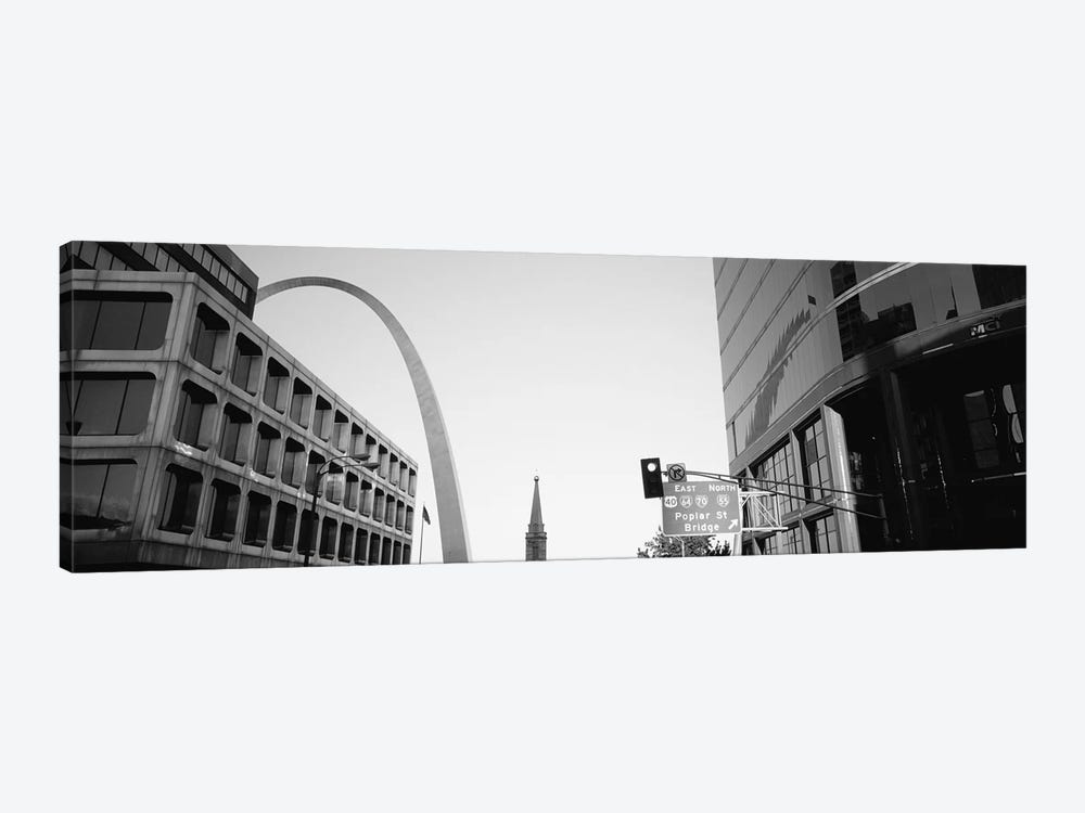 Low-Angle View From 4th Street In B&W, St. Louis, Missouri, USA by Panoramic Images 1-piece Canvas Art