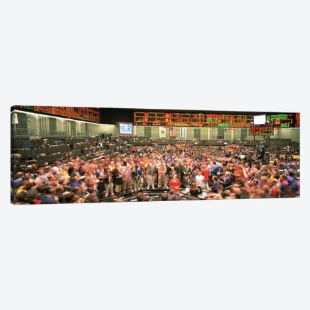 Large group of people on the trading floor, Chicago Board of Trade, Chicago, Illinois, USA Canvas Print #PIM4935} by Panoramic Images Canvas Artwork