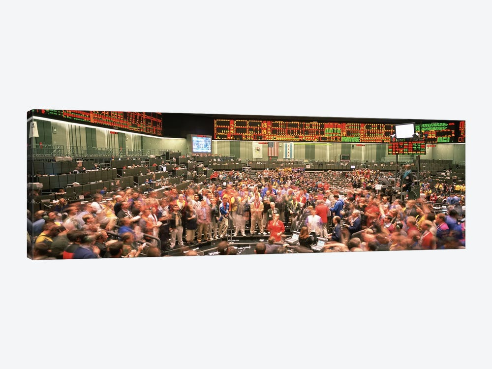 Large group of people on the trading floor, Chicago Board of Trade, Chicago, Illinois, USA by Panoramic Images 1-piece Canvas Art
