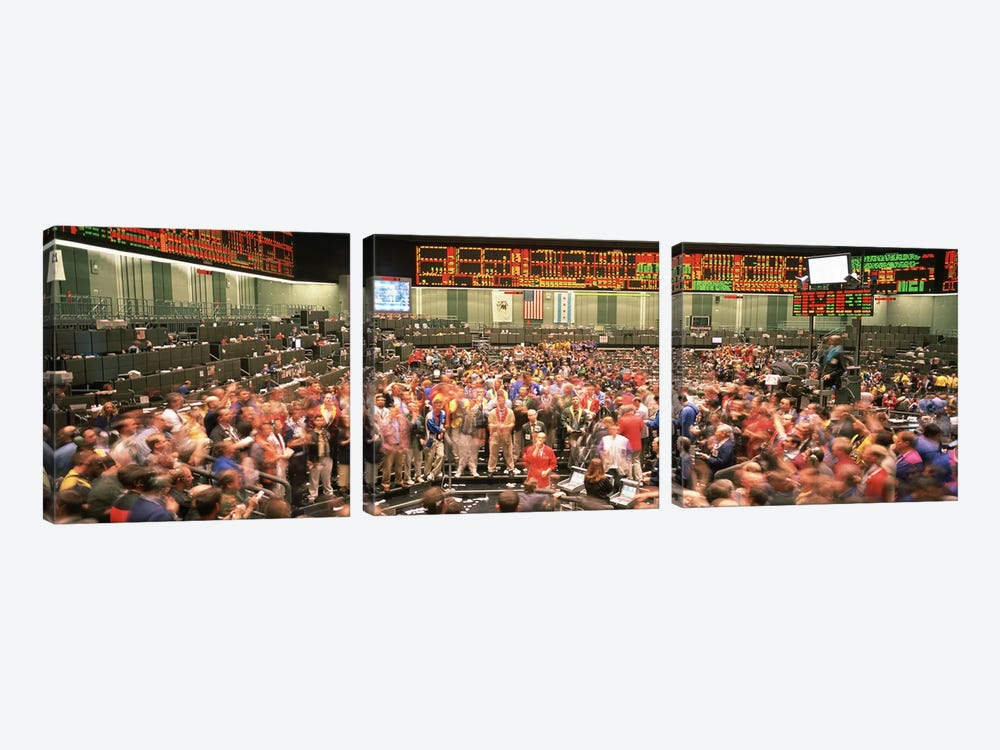 Large group of people on the trading floor, Chicago Board of Trade, Chicago, Illinois, USA by Panoramic Images 3-piece Canvas Art