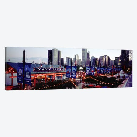 Amusement Park Lit Up At Dusk, Navy Pier, Chicago, Illinois, USA Canvas Print #PIM4936} by Panoramic Images Canvas Art