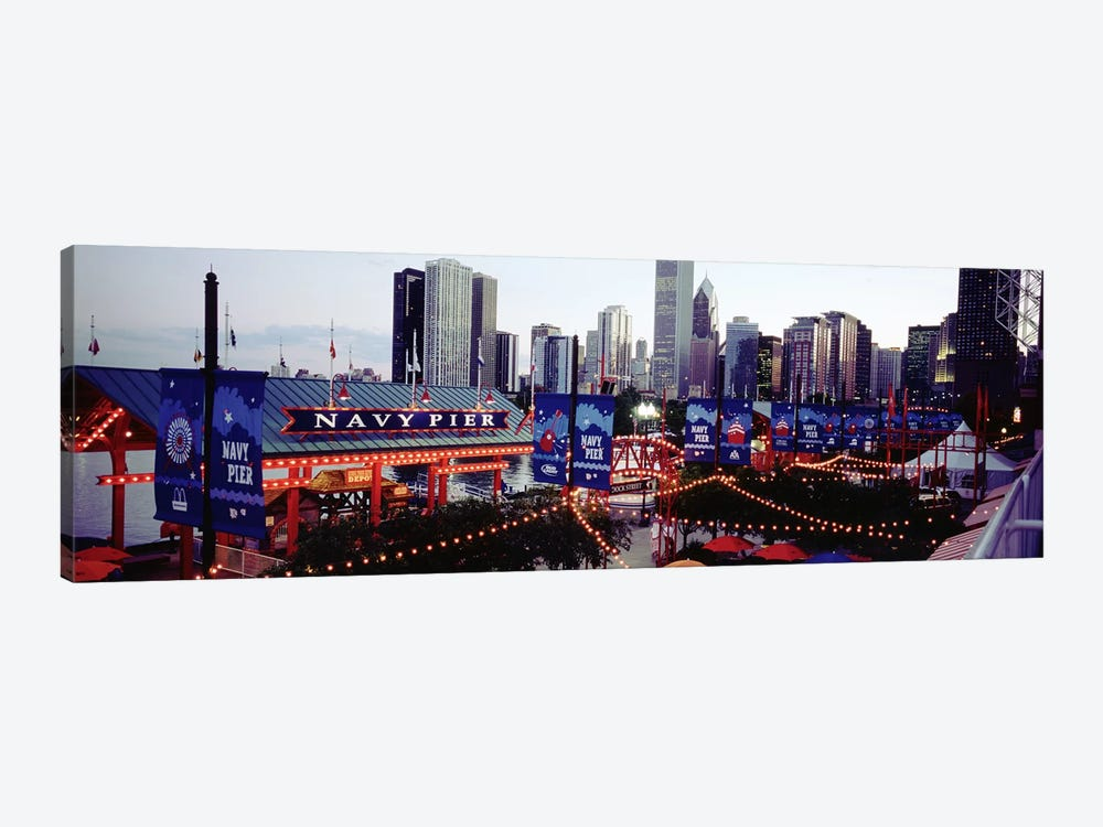 Amusement Park Lit Up At Dusk, Navy Pier, Chicago, Illinois, USA by Panoramic Images 1-piece Canvas Art Print