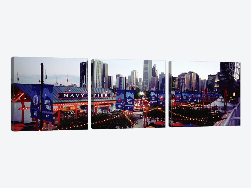 Amusement Park Lit Up At Dusk, Navy Pier, Chicago, Illinois, USA by Panoramic Images 3-piece Canvas Print