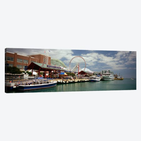 Boats moored at a harbor, Navy Pier, Chicago, Illinois, USA Canvas Print #PIM4937} by Panoramic Images Canvas Artwork