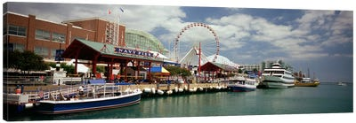 Boats moored at a harbor, Navy Pier, Chicago, Illinois, USA Canvas Art Print