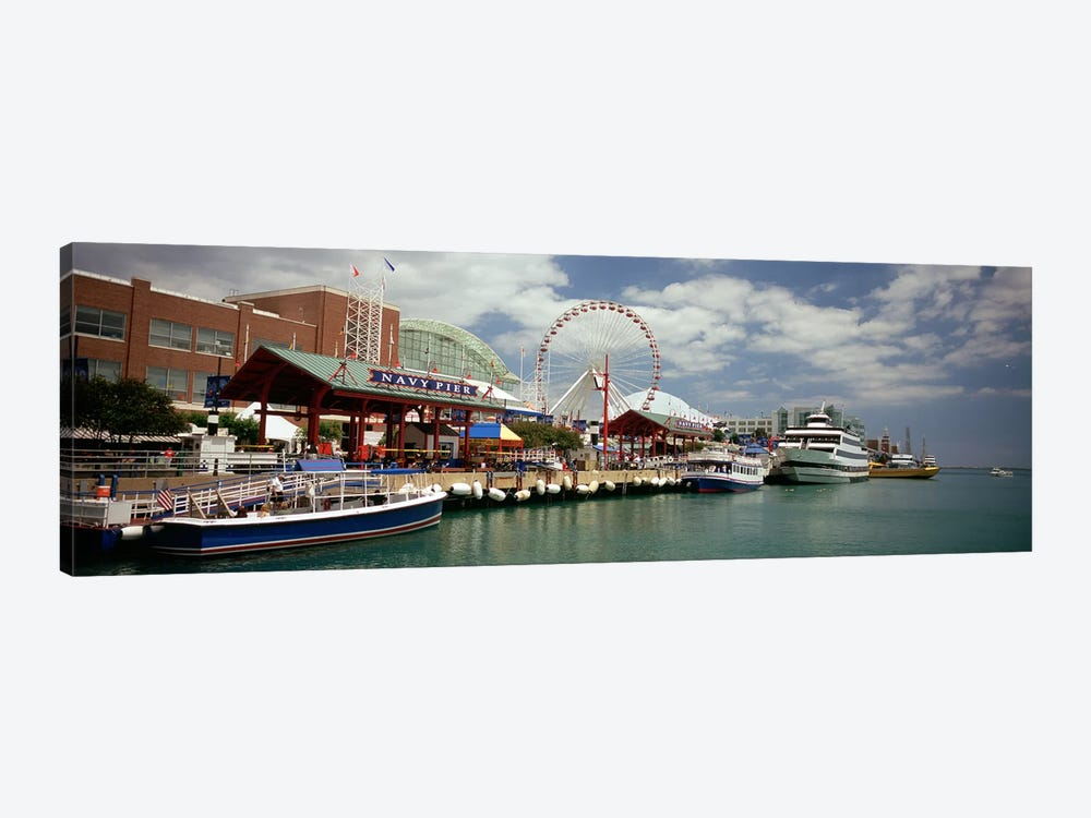 Boats moored at a harbor, Navy Pier, Chicago, Illinois, USA by Panoramic Images 1-piece Canvas Art