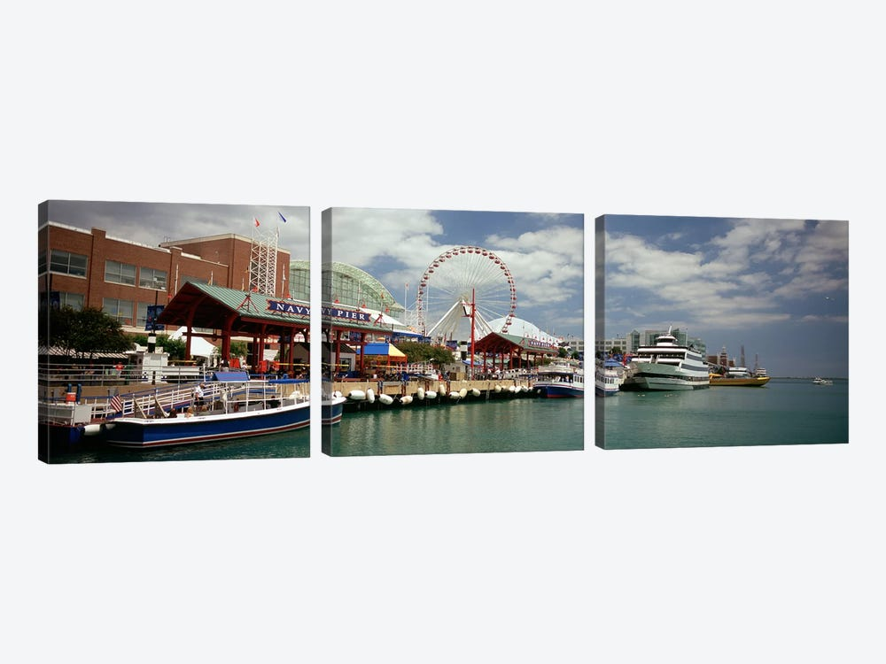 Boats moored at a harbor, Navy Pier, Chicago, Illinois, USA by Panoramic Images 3-piece Canvas Artwork