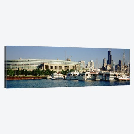 Boats Moored At A Dock, Chicago, Illinois, USA Canvas Print #PIM4938} by Panoramic Images Art Print