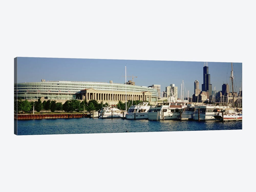 Boats Moored At A Dock, Chicago, Illinois, USA by Panoramic Images 1-piece Canvas Print