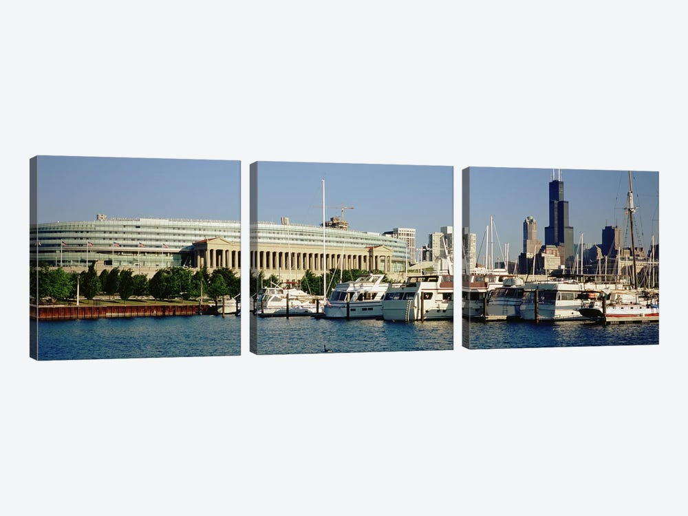 Boats Moored At A Dock, Chicago, Illinois, USA by Panoramic Images 3-piece Art Print