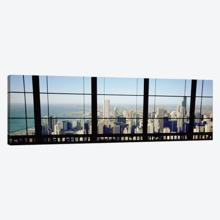 High angle view of a city as seen through a window, Chicago, Illinois, USA Canvas Print #PIM4939} by Panoramic Images Canvas Art Print