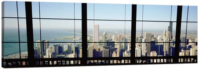High angle view of a city as seen through a window, Chicago, Illinois, USA Canvas Print #PIM4939